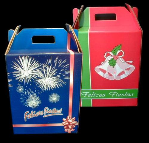 cajas para navidad material montado sobre cartulina u blanco formatos maletn con manija de cartn o manija plstica